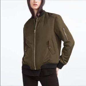 Zara green bomber jacket small